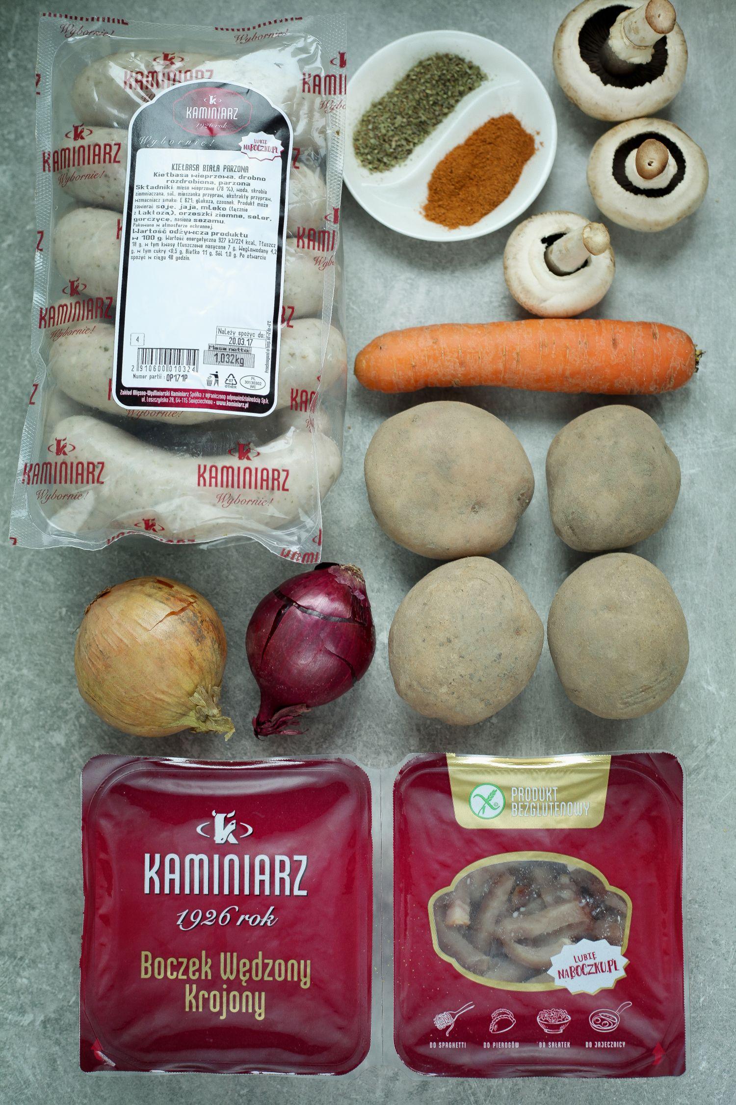 Zapiekanka ziemniacza z białą kiełbasą i bekonem