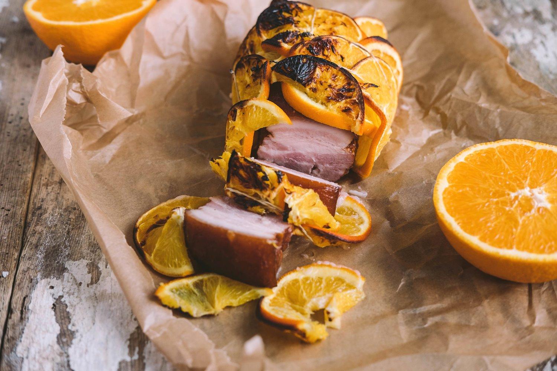 Boczek pieczony z pomarańczami Kaminiarz